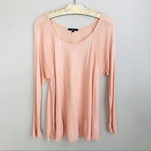 Tart Peach Metallic Knit Shirt Women's Size Small